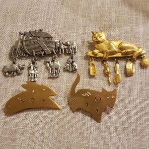 VintageJ.j brooch 4, Noah's ark cats fox signed